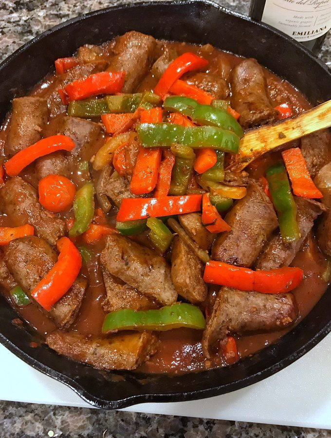 Sausage, Peppers and Onions in A Red Wine Sauce