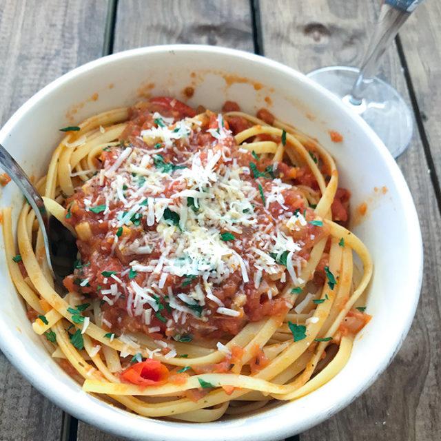 Spicy pasta.