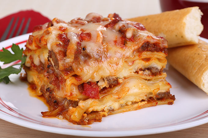 Beef and cheese lasagne.