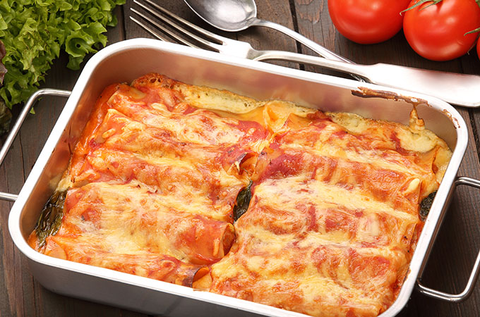 Three Cheese Manicotti with Spinach and Proscuitto
