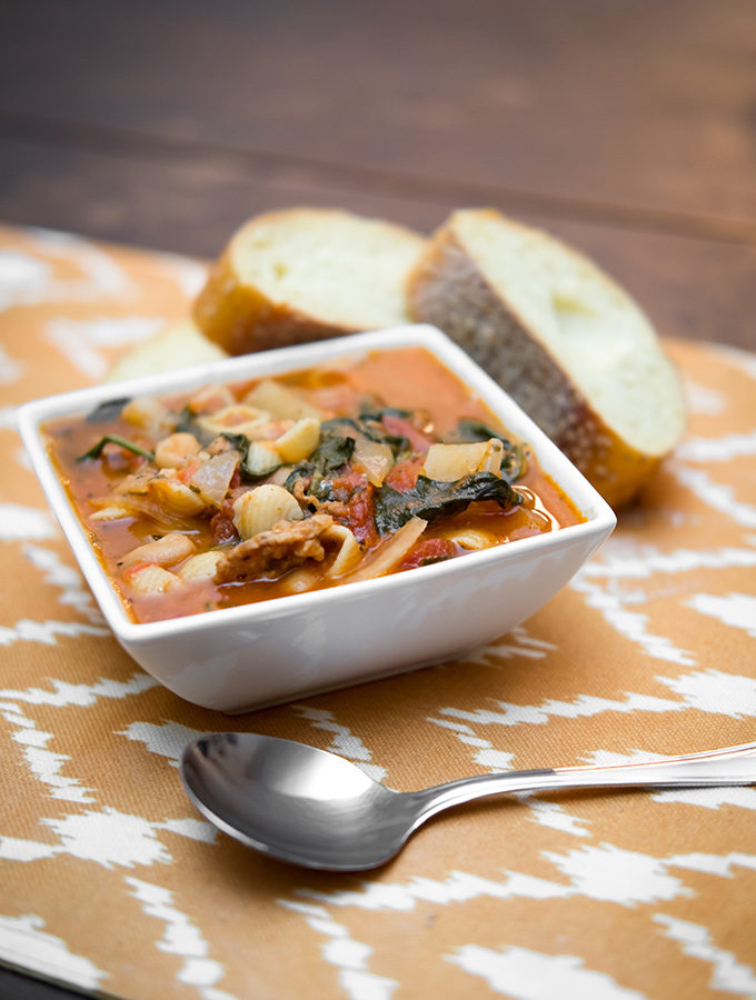 Spicy Sausage and Bean Soup with Escarole