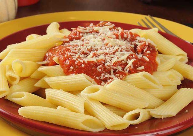 Penne pasta with Marinara Sauce with Pecorino Romano cheese.