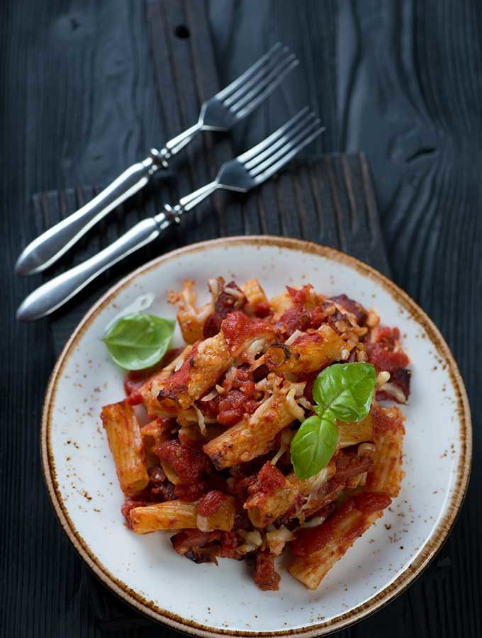 Spicy sausage baked ziti.