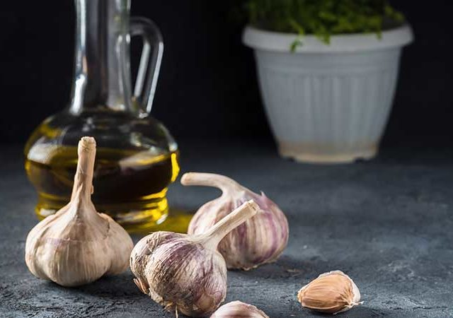 Garlic infused extra virgin olive oil.