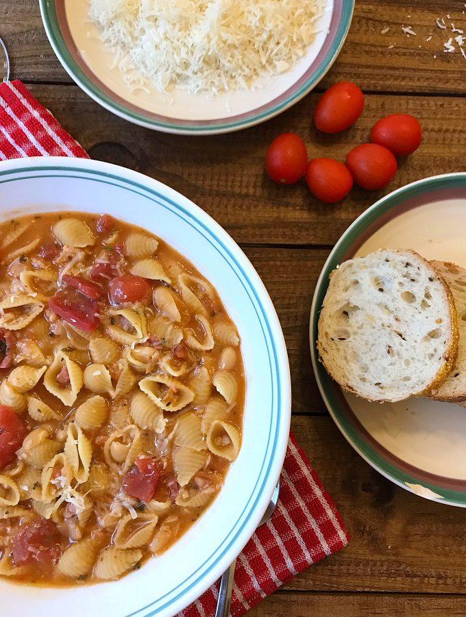 Authentic pasta fazool in a bowl.