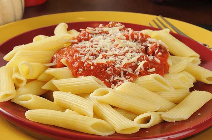 Penne pasta with Marinara Sauce with Pecorino Romano cheese.