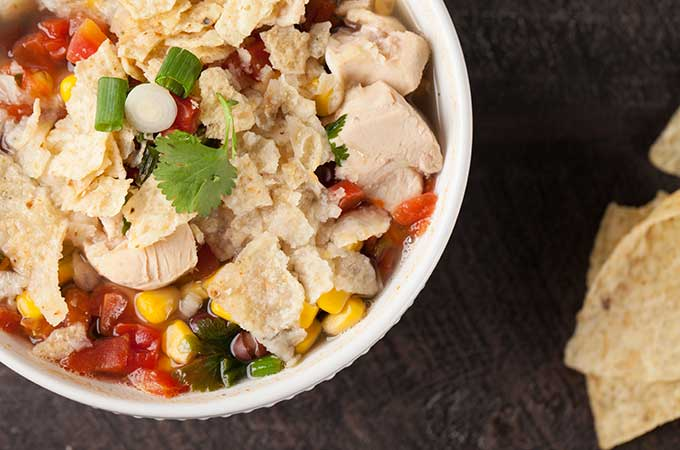 Delicious quick and easy chicken tortilla soup.